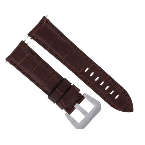 24MM GENUINE LEATHER WATCH BAND STRAP FOR LUM TEC BROWN #9