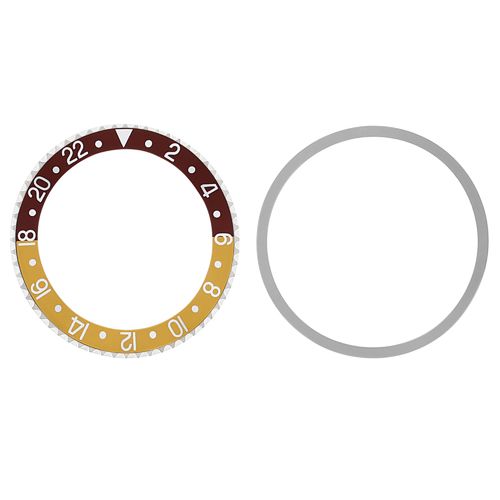 BEZEL & INSERT FOR ROLEX GMT 1670 1675 16750 16753 BROWN/GOLD SILVER FONT INSTAL