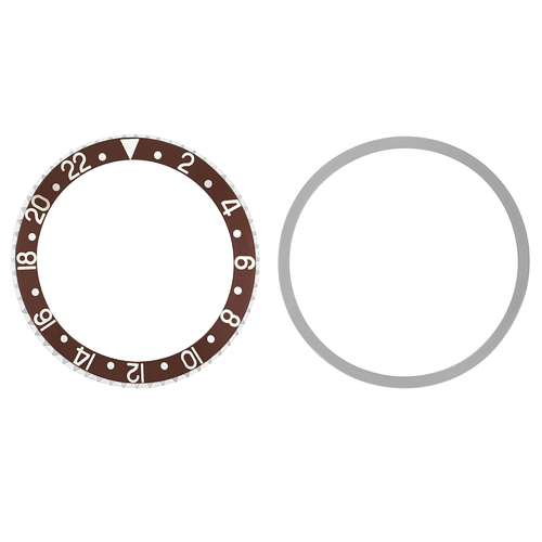 BEZEL & INSERT FOR ROLEX GMT 1670, 1675, 16750, 16753 16758 BROWN SILVER FONTS