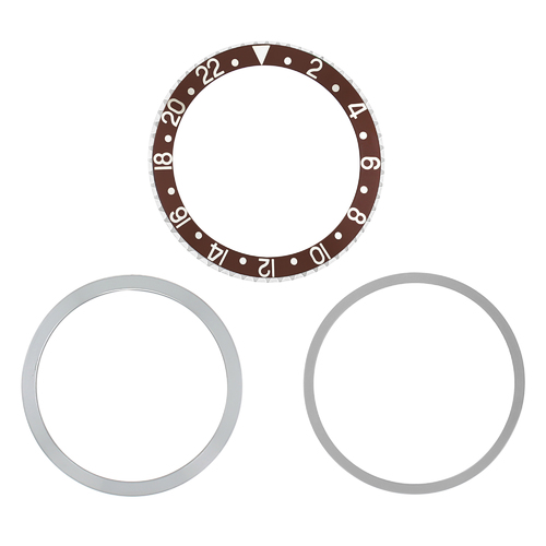 ROTATING + BEZEL + INSERT FOR ROLEX GMT 1670,1675,16750,16753,16758 BROWN SILVER