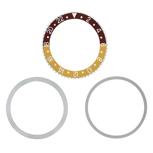 ROTATING BEZEL + INSERT FOR ROLEX GMT 1670 1675 16750 16753 16758 BROWN/GOLD SIL