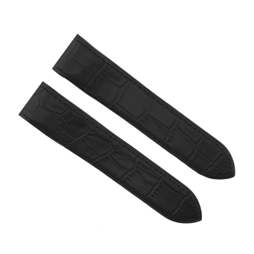 23MM LEATHER WATCH BAND STRAP FOR CARTIER SANTOS 100XL WATCH 38M BLACK