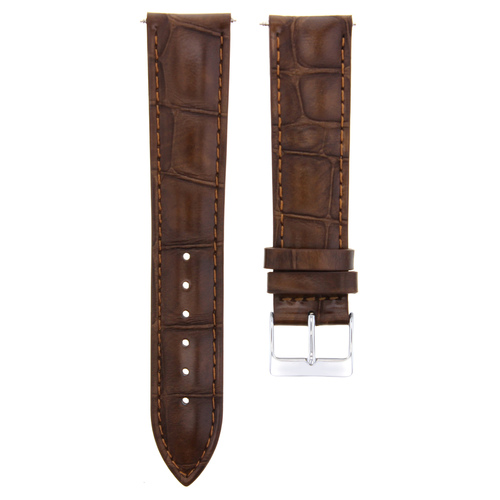 24Mm Light Brown Genuine Leather Strap Band For Vacheron Constantin