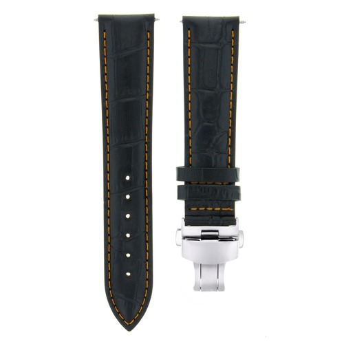 24MM LEATHER STRAP BAND FOR GUESS WATCH DEPLOYMENT CLASP BLACK ORANGE STITCH