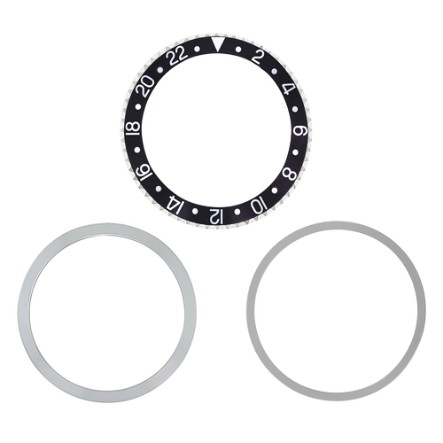 RETAINING RING + BEZEL+ INSERT FOR ROLEX GMT BLACK 1670 1675 16750 16753 16758