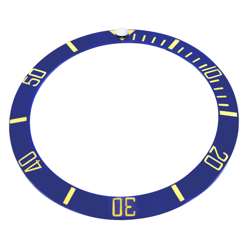 REPLACEMENT BLUE CERAMIC INSERT WITH GOLD FONT FOR WATCH 37.60MM X 30.70MM