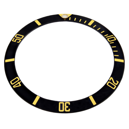 REPLACEMENT BLACK INSERT WITH GOLD FONT FOR WATCH 36.50MM X 30.40MM