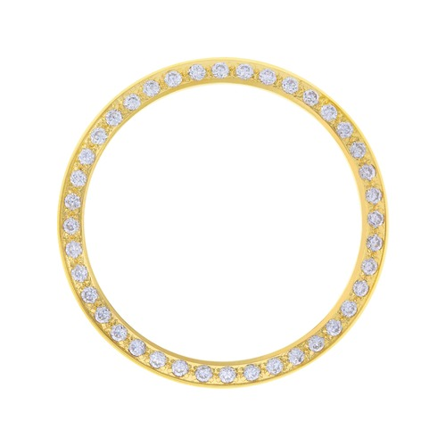 GOLD CREATED DIAMOND BEZEL FOR 34MM ROLEX 15000, 15505, 15200 14000 14010 DATE