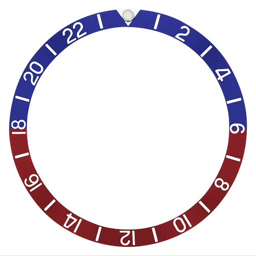 REPLACEMENT BEZEL INSERT BLUE/RED WITH PEARL FOR WATCH 38.90MM X 33MM