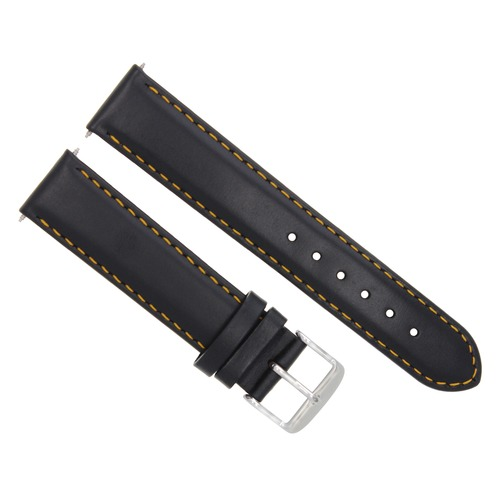 24MM SMOOTH LEATHER STRAP BAND FOR MONTBLANC WATCH BLACK ORANGE STITCH