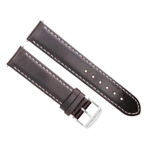24MM LEATHER STRAP SMOOTH BAND FOR ZENO MAGELLANO WATCH DARK BROWN WHITE STITCH