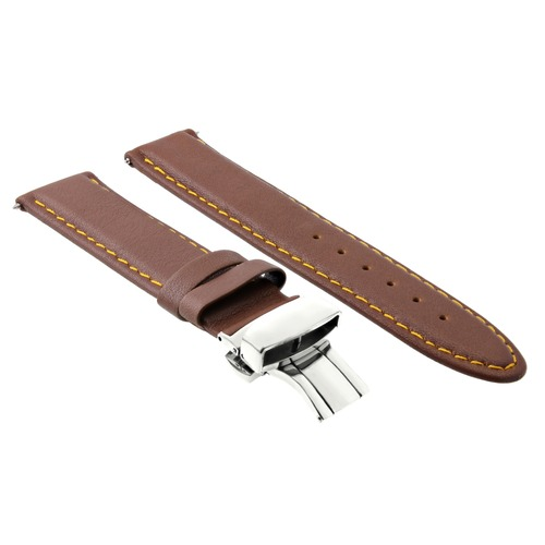 24MM LEATHER WATCH BAND STRAP SMOOTH CLASP FOR ZENO MAGELLANO L/BROWN OS #2