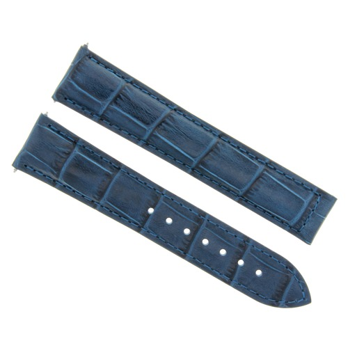 22MM LEATHER BAND STRAP FOR 22/18 IWC LAUREUS WATCH DEPLOYMENT CLASP BLUE