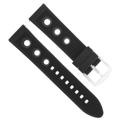 24MM RUBBER DIVER WATCH BAND STRAP FOR U-BOAT WATCH BLACK