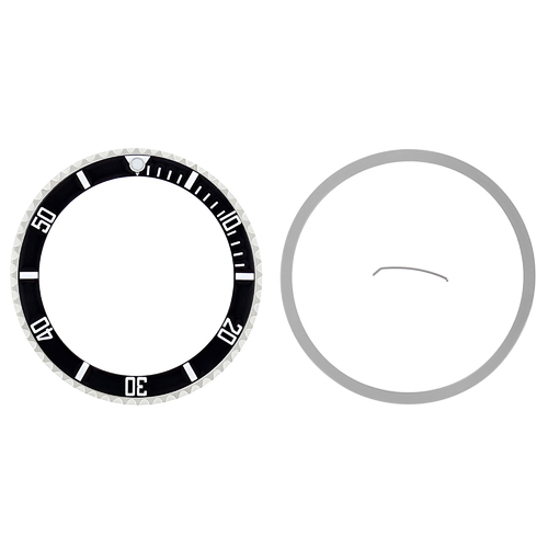 INSTALLED BEZEL + INSERT FOR ROLEX SUBMARINER SAPAHIRE 16800 16803 16808 BLACK