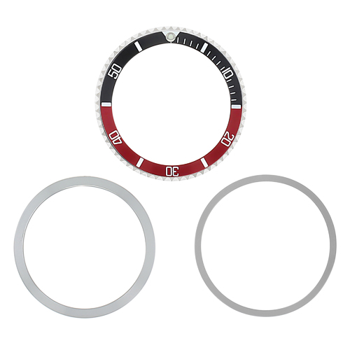BEZEL,RETAINING,INSERT FOR OLDER ROLEX SUBMARINER 1680 5508 5513 5517  BLACK/RED