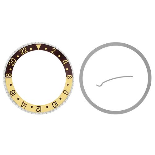 BEZEL + INSERT FOR ROLEX GMT 16700, 16710, 16713, 16718, 16760  WATCH BROWN/GOLD