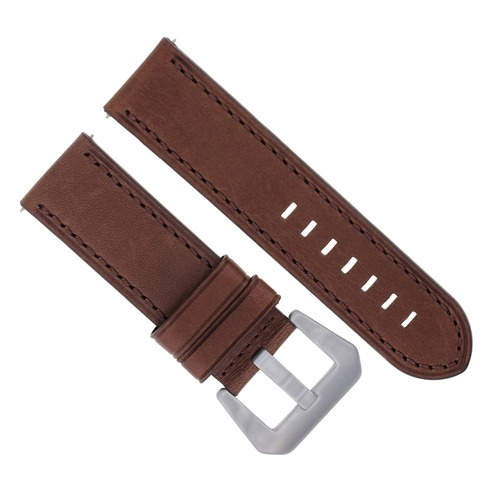 24MM LEATHER WATCH BAND STRAP FOR ANONIMO NAUTILO AUTOMATIC WATCH DARK BROWN