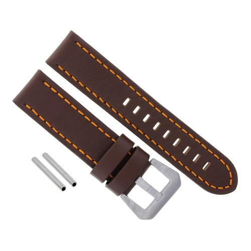 20MM COW LEATHER WATCH BAND STRAP FOR ANONIMO WATCH  DARK BROWN ORANGE STITCH