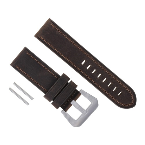 24MM COW LEATHER WATCH BAND STRAP FOR ANONIMO MILITARE SAILOR WATCH DARK BROWN