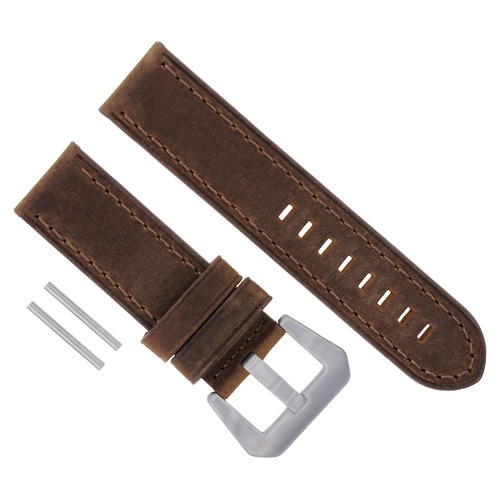 24MM LEATHER STRAP WATCH BAND FOR PANERAI MARINA GMT 1950 88 104 177 112 BROWN #17