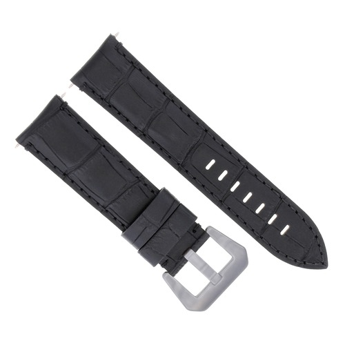 24MM GENUINE LEATHER WATCH BAND STRAP FOR ANONIMO MILITARE WATCH BLACK