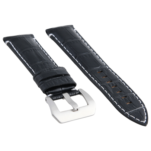 24MM GENUINE LEATHER WATCH BAND STRAP FOR ANONIMO BLACK WHITE STITCH TOP QUALITY