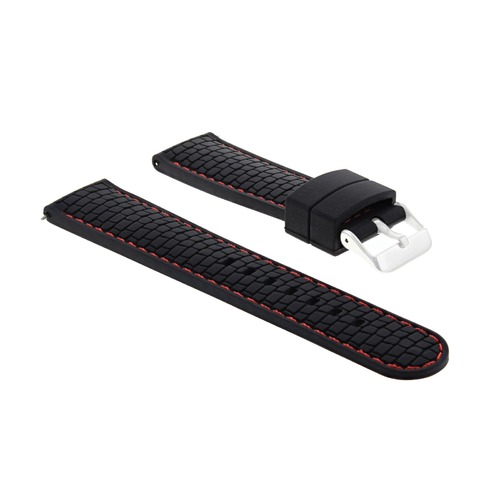 24MM RUBBER STRAP BAND FIT FOSSIL WATCH BLACK RED STITCH #4R