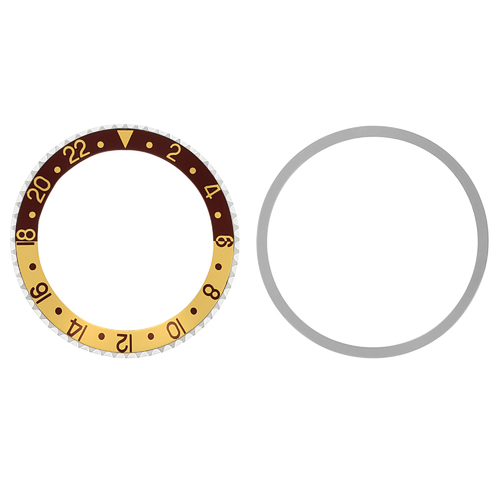 BEZEL & INSERT FOR 40MM ROLEX GMT WATCH 1670 1675 16750 16753 16758 BROWN/GOLD