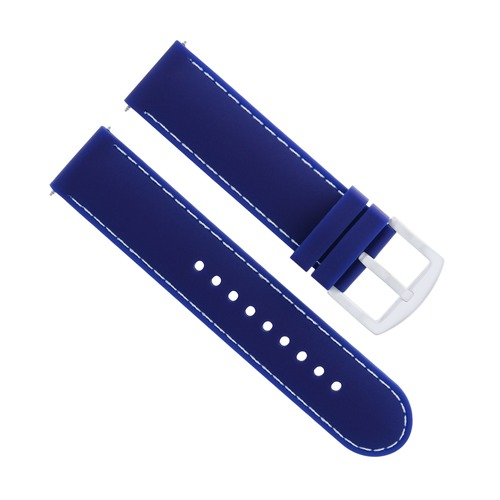 22MM SOFT RUBBER DIVER BAND STRAP FOR FOSSIL BLUE WHITE STITCHING 6P