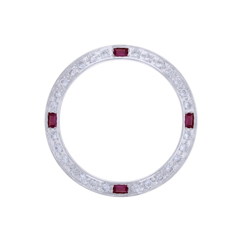 CREATED DIAMOND RUBY BEZEL FOR 26MM ROLEX DATE DATEJUST 6917 6900 LADY WHITE
