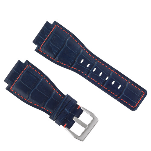 24MM GENUINE LEATHER WATCH BAND STRAP FOR BELL & ROSS BR-01-BR-03 SILVER BUCKLE