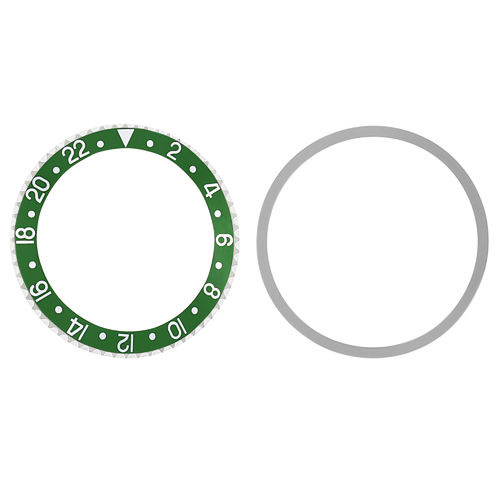 BEZEL & INSERT FOR ROLEX GMT 1670 1675, 16750, 16753 16758  GREEN PLASTIC MODEL