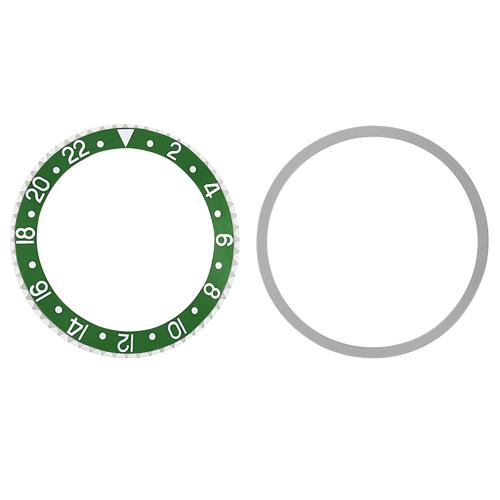 BEZEL & INSERT FOR ROLEX GMT 1670 1675, 16750, 16753 16758  GREEN PLASTIC MODEL