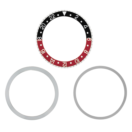 RETAINING BEZE  INSERT FOR ROLEX GMT 1670 1675 16750 16753 16758 COKE BLACK/RED