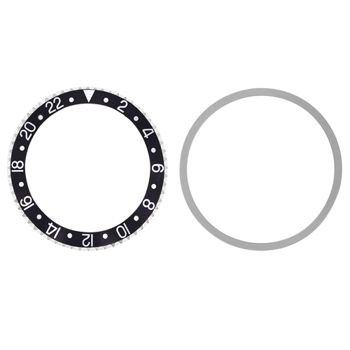 ROTATING STEEL BEZEL+ INSERT FOR ROLEX OLD GMT 1670 1675 16750 16753 16758 BLACK