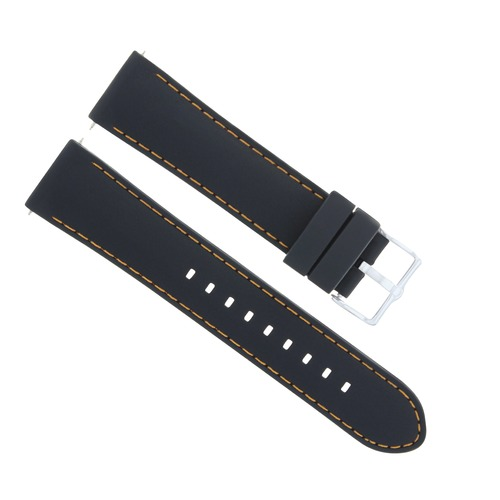 22MM SOFT RUBBER BAND DIVER STRAP FOR GUESS WATCH BLACK ORANGE STITCH