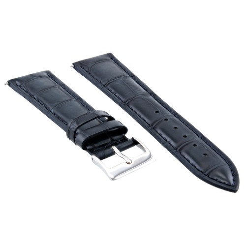 22MM GATOR LEATHER WATCH BAND STRAP FOR 44MM FOSSIL FS4812, FS4813 DARK BLUE