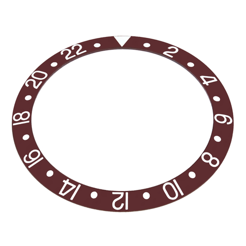 REPLACEMENT BEZEL INSERT BROWN WITH SILVER FONT FOR WATCH 37.70MM X 30.70MM