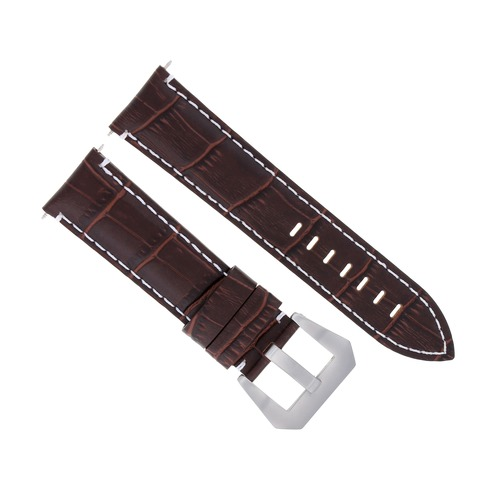 22MM LEATHER WATCH BAND STRAP FOR ULYSSE NARDIN WATCH BROWN WHITE STITCH