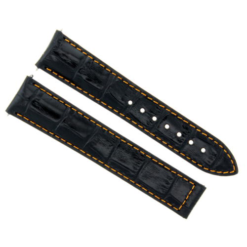 20MM LEATHER WATCH BAND STRAP DEPLOY CLASP FOR ZENITH WATCH BLACK ORANGE STITCH