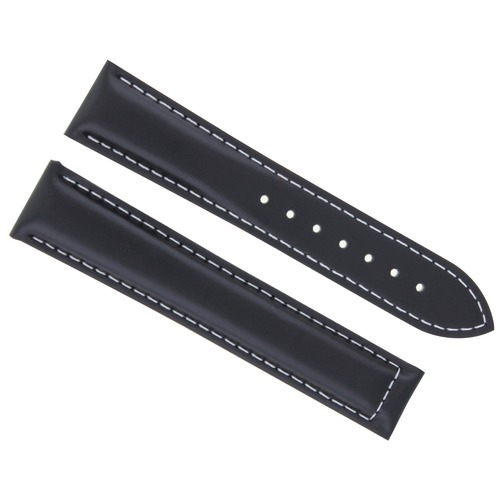 22MM LEATHER STRAP SMOOTH BAND DEPLOYMENT CLASP BUCKLE FOR ZENITH WATCH BLACK WS