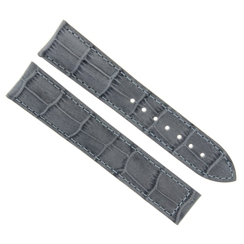22MM LEATHER STRAP WATCH BAND FOR ZENITH GMT AUTOMATIC WATCH DEPLOY CLASP GREY