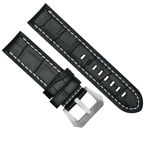 BIG 24MM LEATHER WATCH BAND STRAP FOR BREITLING NAVITIMER BLACK BRUSH BUCKLE