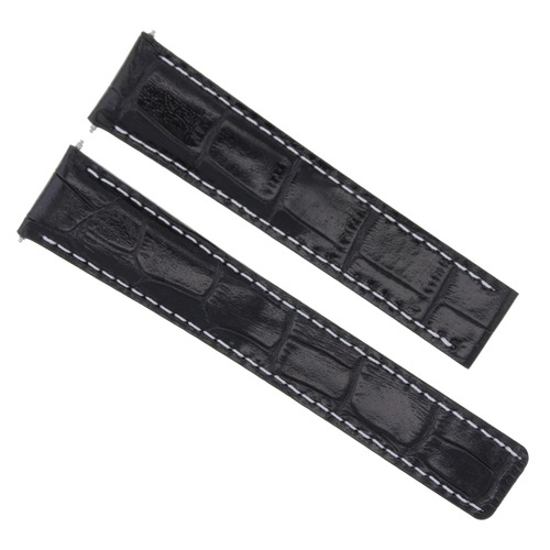 20/18MM LEATHER STRAP BAND FOR IWC PILOT PORTUGUESE DEPLOYMENT CLASP BLACK WS