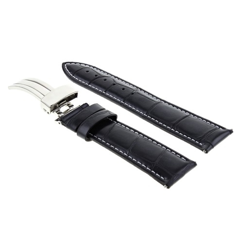 22MM LEATHER WATCH STRAP BAND FOR NIXON PASSPORT WATCH + DEPLOYMENT CLASP BLACK