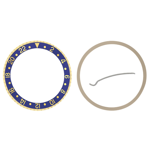 BEZEL+ INSERT FOR ROLEX NEW GMT 18KY REAL GOLD 16700, 16710, 16718, 16760 BLUE