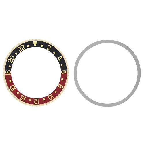 BEZEL+ INSERT FOR OLDER ROLEX GMT 18KY REAL GOLD 1675 16750 BLACK/RED