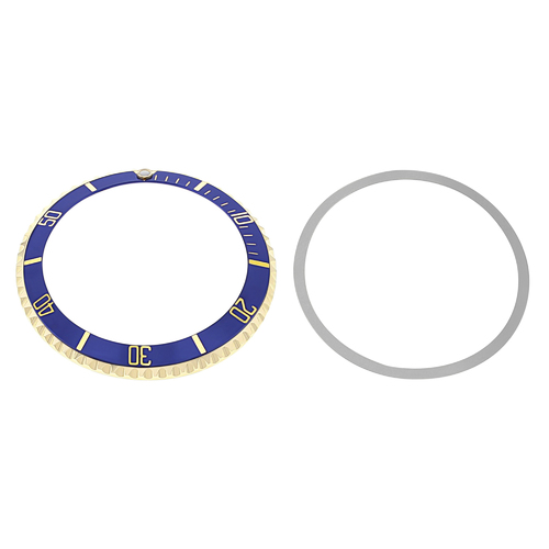 BEZEL & INSERT FOR ROLEX SUBMARINER 18KY REAL GOLD 5508, 5512, 5513, 1680 BLUE