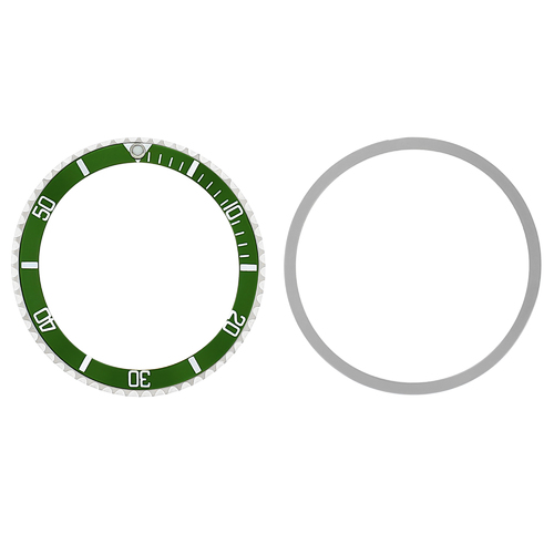 BEZEL & INSERT FOR ROLEX SUBMARINER 5508, 5512, 5513,1680 WATCH INSTALLED GREEN